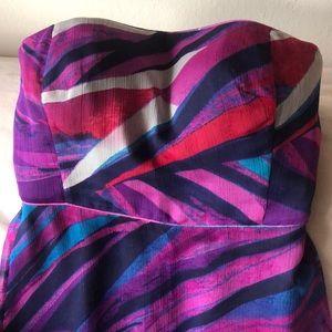 Sleek silk strapless dress
